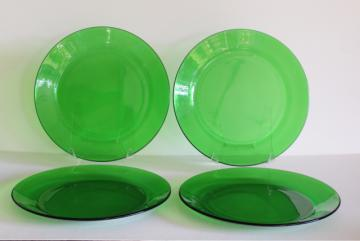 vintage forest green glass dinner plates set of four, 10 inch diameter plate