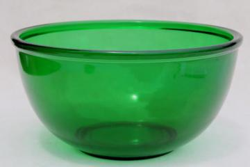 vintage forest green glass mixing bowl, large Anchor Hocking kitchen glass bowl