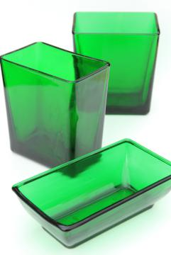 vintage forest green glass planter vases, retro Napco florist display flower buckets