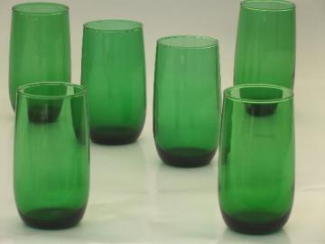 vintage forest green glass tumblers, retro roly poly glasses set of 6