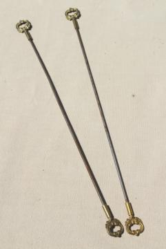vintage frame rods for bell pull or needlework wall hanging, ornate gold metal finials