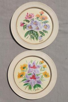 vintage framed art, flower pictures in old round wood picture frames, miniature florals