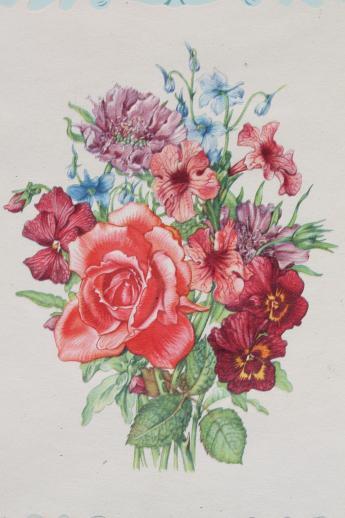Vintage Framed Floral Prints Shabby Cottage Style Flower Pictures