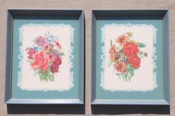 vintage framed floral prints, shabby cottage style flower pictures in old wood frames