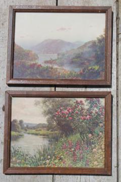vintage framed landscape prints, river scenes w/ old Peekskill framers mark
