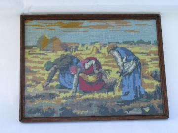 vintage framed needlepoint picture, French fine art painting, The Gleaners