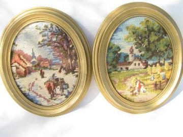 vintage framed needlepoint pictures, Currier & Ives scenes stitched in wool