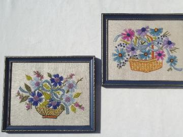 vintage framed needlework, crewel wool embroidered flower pictures on linen
