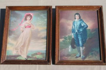 vintage framed prints Pinkie & Blue Boy, shabby cottage chic wood frames