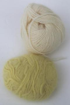 vintage french angora yarn, baby bunny soft angora rabbit yarn, pale yellow & off-white