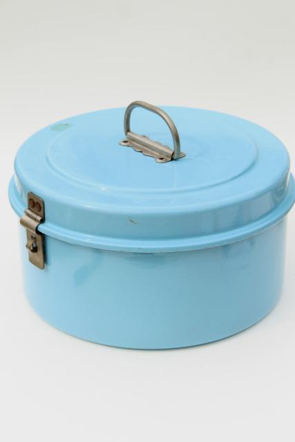 Vintage French Blue Enamel Cake Carrier Large Round