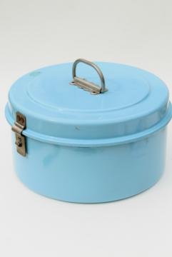 vintage french blue enamel cake carrier, large round tiffin or lunch pail w/ sturdy handle