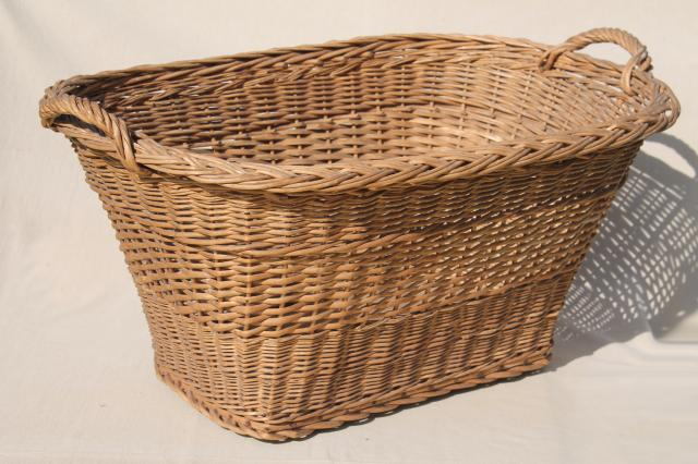 vintage french country chic wicker laundry hamper big old wash basket w handles - Wicker Laundry Basket