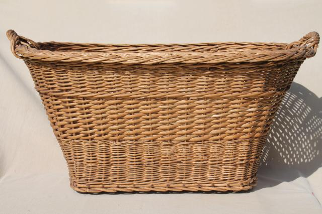 vintage french country chic wicker laundry hamper big old wash basket w handles