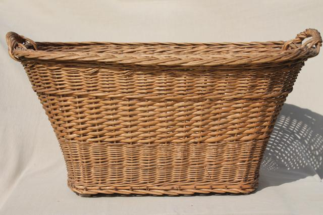 Vintage French Country Chic Wicker Laundry Hamper, Big Old