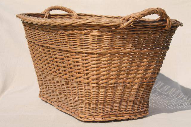 Wicker Laundry Basket Big W : Vintage french country chic wicker laundry hamper big old