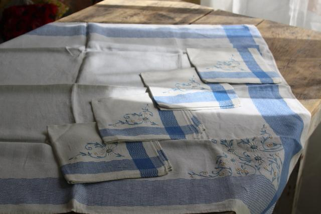 vintage french country damask kitchen tablecloth napkins set, hand embroidered blue & white cotton