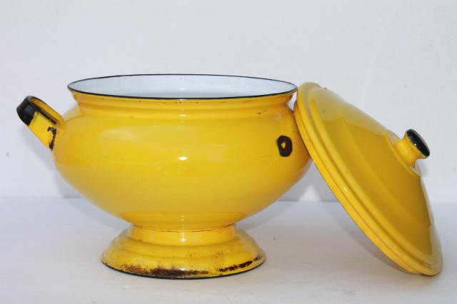 vintage french country enamelware soup tureen, large serving bowl w/ notched cover