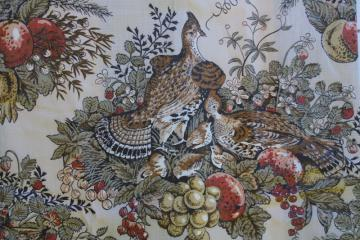 vintage french country farmhouse pheasants print cotton fabric, lightweight glazed chintz