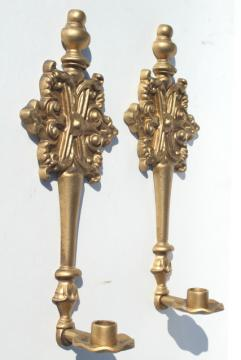 vintage french country ornate gold candle sconces, metal wall sconce candle holders