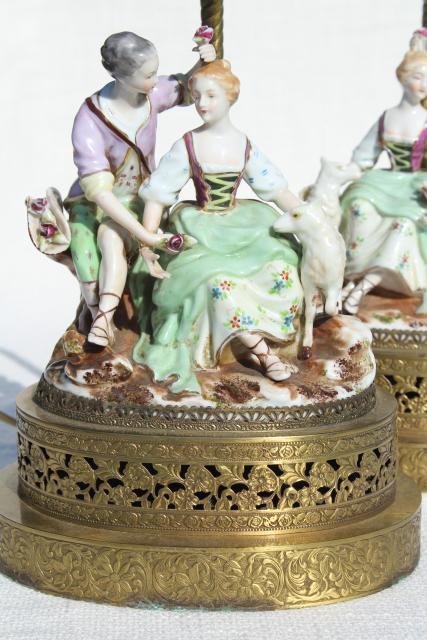 Vintage French Country Style China Figurine Lamps