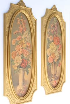 vintage french country style floral prints in ornate gold picture frames