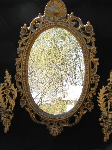 Vintage French Country Style Ornate Gold Rococo Mirror