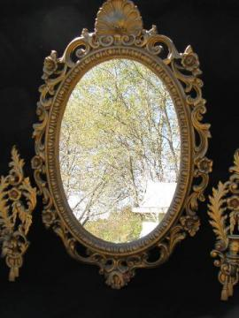 vintage french country style ornate gold rococo mirror & wall sconces