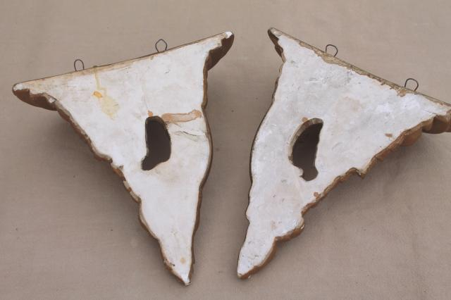 vintage french country wall shelves, pair of gold chalkware half round brackets