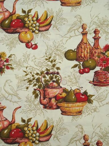 vintage french kitchen print cotton fabric, antique copper, wine bottles & fruit