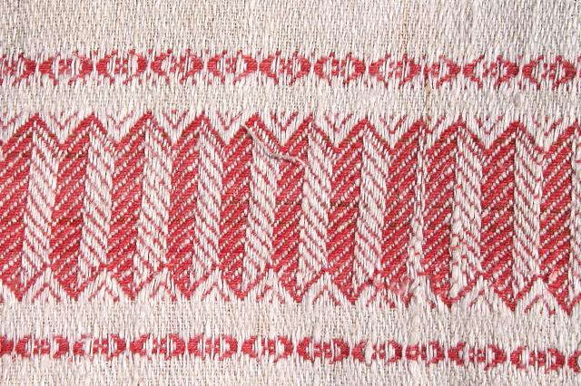 vintage french linen damask tablecloth for farmhouse table, turkey red border w/ fringe