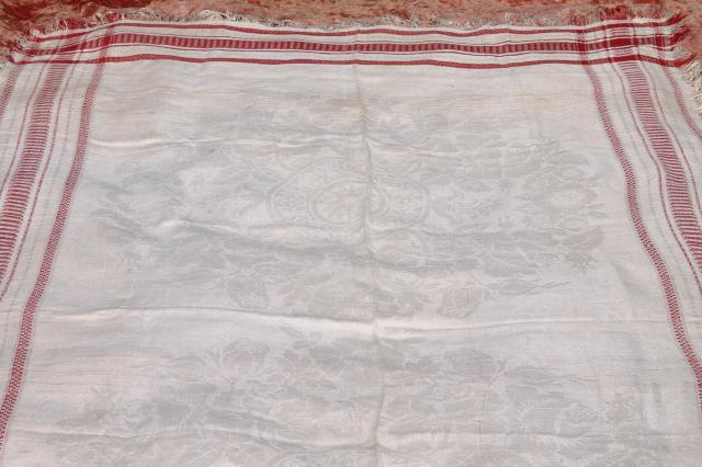 Vintage french linen damask tablecloth for farmhouse table for Table no border