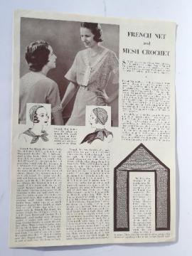 vintage french net crochet pattern 30s lace snood head scarf hair wrap etc.