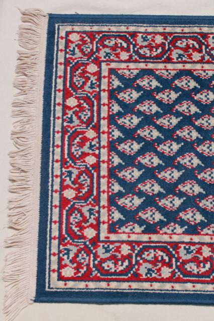 Vintage Fringed Wool Area Rug Small Oriental Carpet Woven
