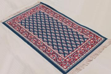 vintage fringed wool area rug, small oriental carpet woven red & white on navy blu
