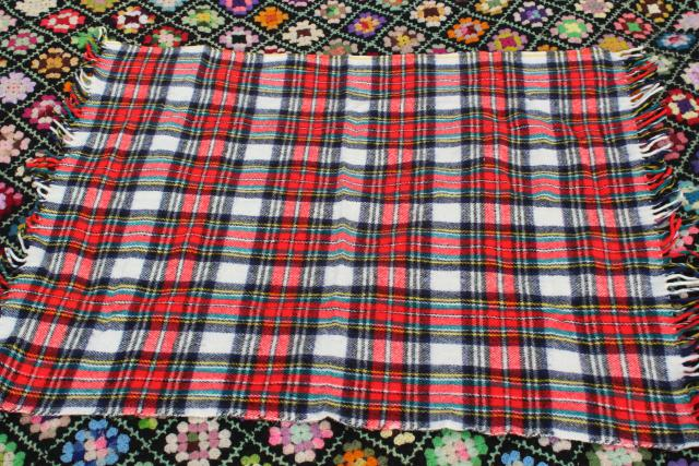 vintage fringed woven plaid camp blanket or throw, retro stadium blanket
