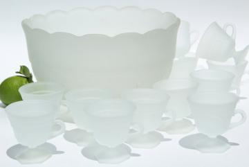 vintage frosted crystal satin glass punch bowl & footed cups, Tiara french provincial