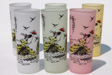 vintage frosted glass iced tea glasses w/ southern belles print, tall tumblers in pastel colors