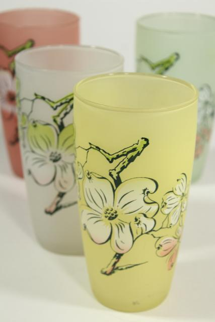 vintage frosted glass tumblers, dogwood flowers pastel colors, Libbey southern plantation?