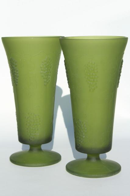 vintage frosted green glass vases, embossed grapes pattern satin glass