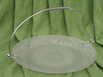 vintage frosted satin glass cake or tea sandwich plate, Indiana daisy