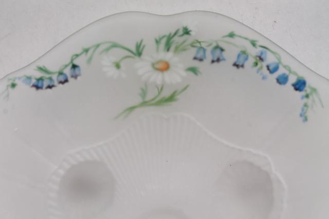 vintage frosted satin glass centerpiece bowl w/ hand painted flowers, daisies & blue bells