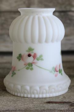 vintage frosted white milk glass lamp or light shade w/ hand painted pink roses