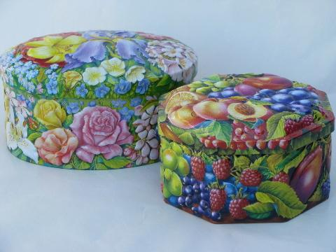 vintage fruit and flowers chintz candy tins, Churchill - England