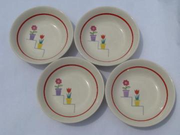 vintage fruit bowls, American Limoges Posey Shop flower pots pattern