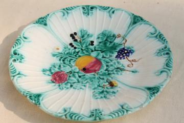 vintage fruit & flowers majolica faience pottery plate w/ old stamped L makers mark