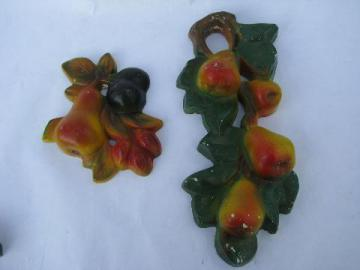 vintage fruit kitchen chalkware wall plaques, branch & bunch of pears
