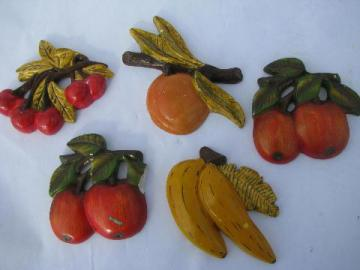 vintage fruit kitchen wall art, lot chalkware plaques, apples, cherries