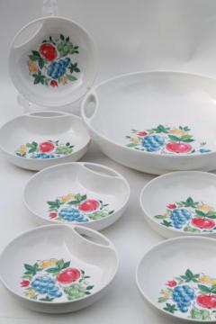 vintage fruit print melmac salad bowls set, retro Lenox Ware melamine dishes