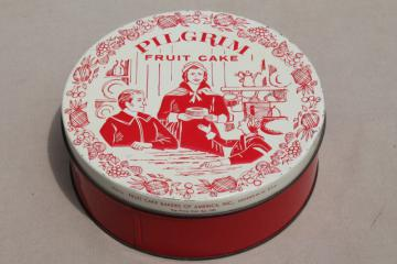 vintage fruitcake tin, Pilgrim fruit cake pilgrims illustration in Christmas red & white